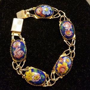 Vintage costume floral cameo link bracelet